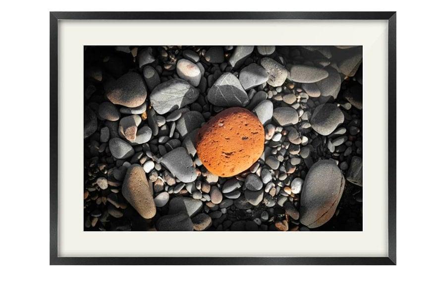 Orange Scottish Beach Pebble Black Framed Image