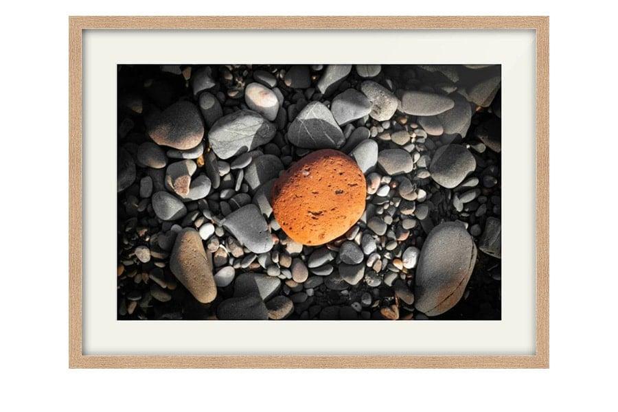 Orange Scottish Beach Pebble Oak Framed Image