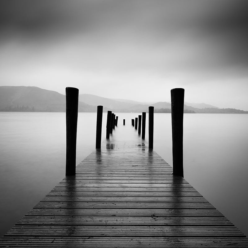 Ashness Jetty Black and White Square Crop Print Only