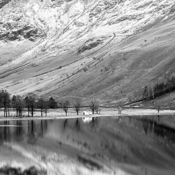 Buttermere Bothy Black and White Square Crop Print Only