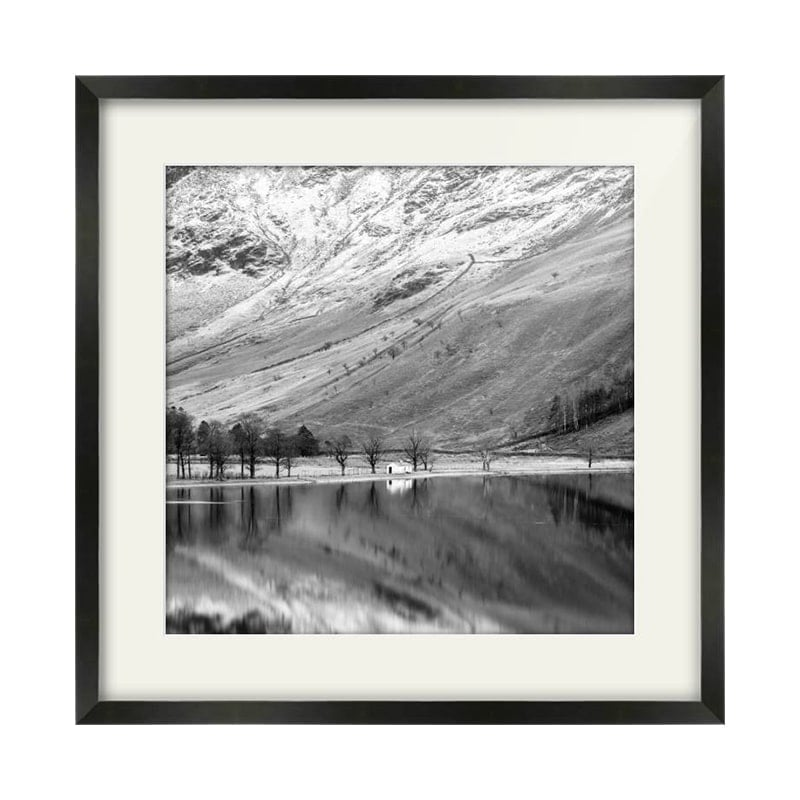 Buttermere Hut Lake District Black Framed Print Square Crop