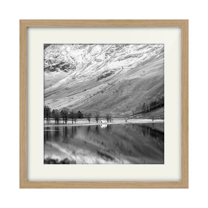 Buttermere Hut Lake District Oak Framed Print Square Crop