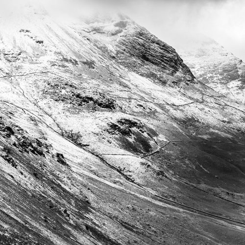 Haystacks Mountain View Square Crop Print Only Black and White